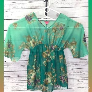 Sunny Leigh Large 2 Tone Green Floral Fancy Blouse